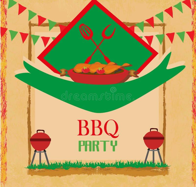 Inbjudan för kort för grillfestpartimeny stock illustrationer