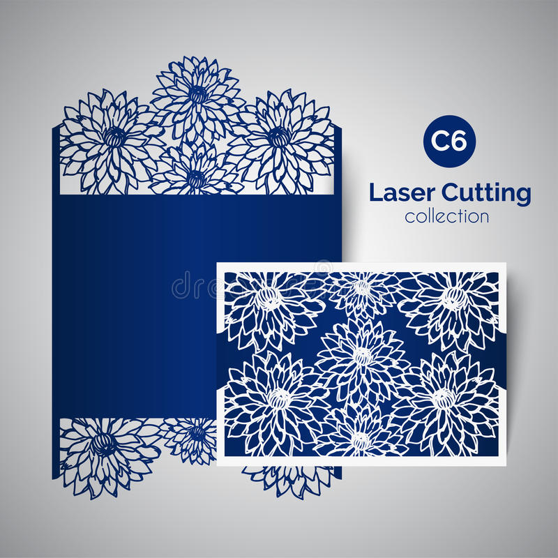 Inbjudan för laser-snittbröllop Kuvert för att klippa med asterblommor royaltyfri illustrationer