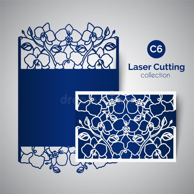 Inbjudan för laser-snittbröllop Kuvert för att klippa med orkidéblommor royaltyfri illustrationer