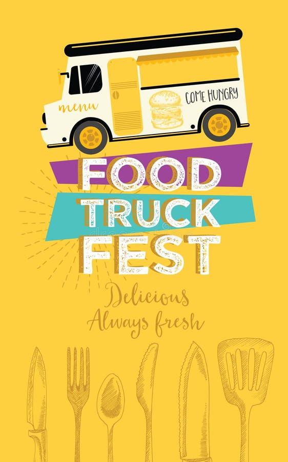 Inbjudan för matlastbilparti Design för matmenymall Matfluga stock illustrationer
