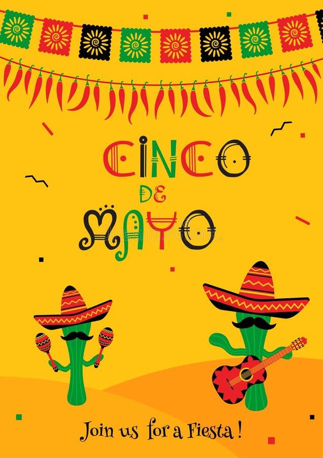 Inbjudan för parti för de mayo för kaktusmariachicinco vektor illustrationer