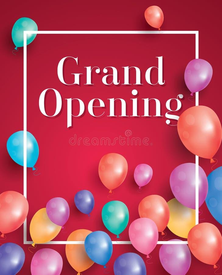 Inbjudan för storslagen öppning med den vita ramen och ballonger royaltyfri illustrationer