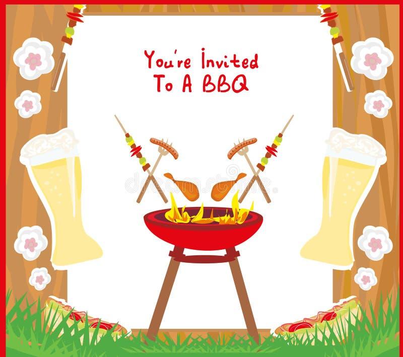 Inbjudan f?r kort f?r grillfestpartimeny stock illustrationer