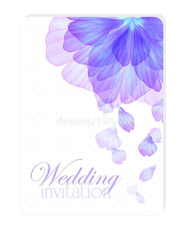 Inbjudan med vattenfärgblommakronblad royaltyfri illustrationer