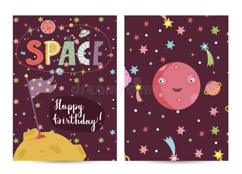 Inbjudan på barn kostymerade födelsedagpartiet stock illustrationer