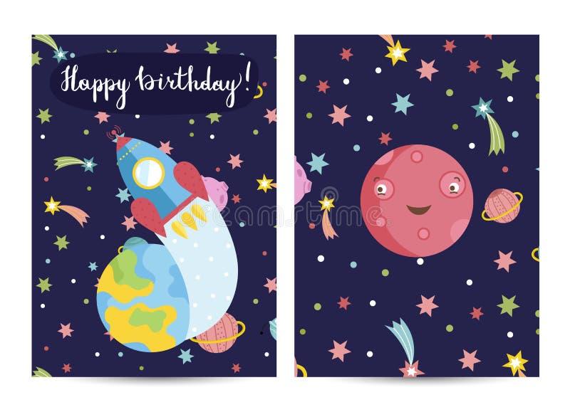 Inbjudan på barn kostymerade födelsedagpartiet vektor illustrationer