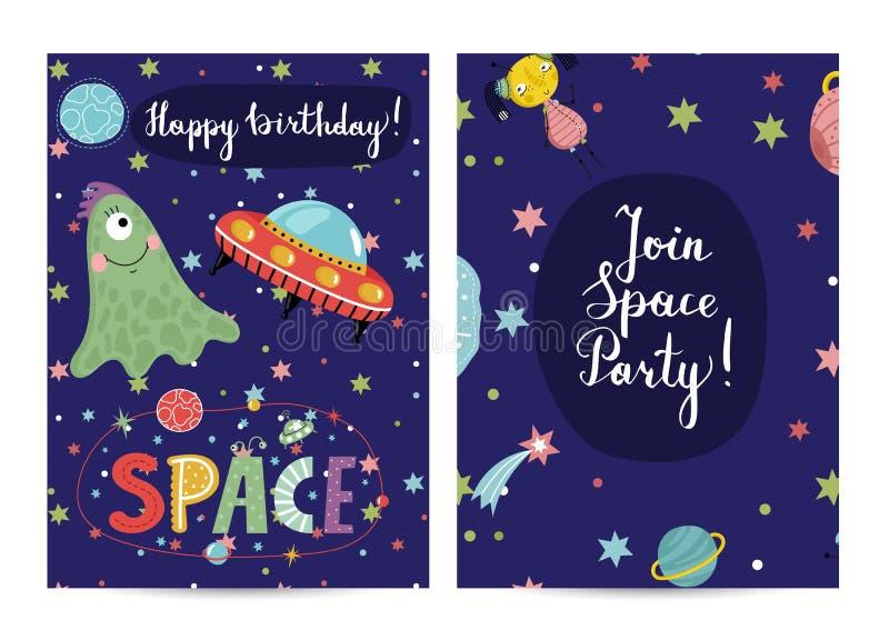 Inbjudan på barn kostymerade födelsedagpartiet royaltyfri illustrationer