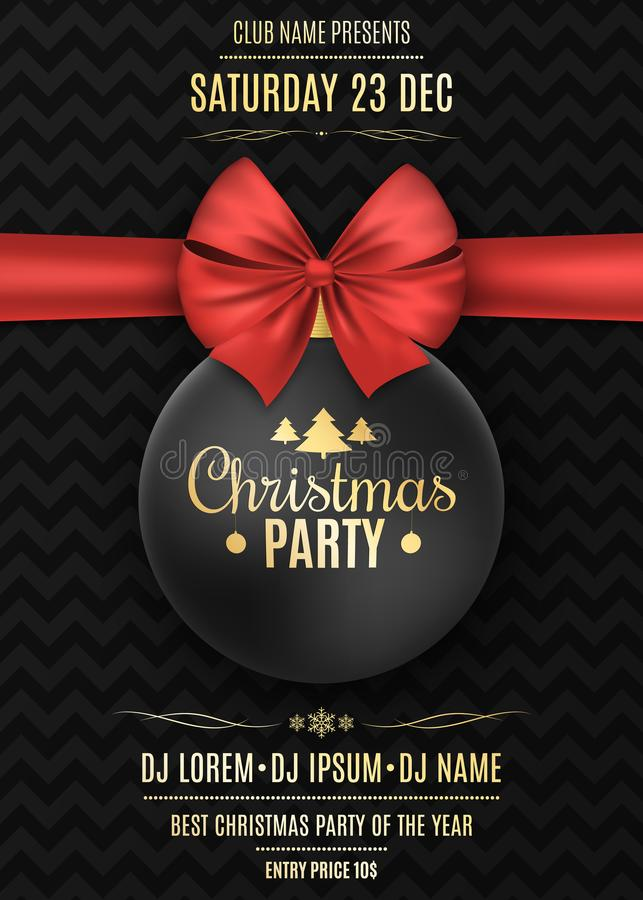 Inbjudan till ett julparti Svart boll med ett rött band på en svart bakgrund med en modell Namnen av discjockeyn stock illustrationer