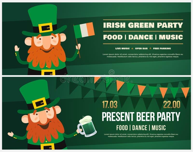 Inbjudan till irländsk ferie av St Patrick Roligt tecknad filmtroll med en irländsk flagga och halv liter av öl vektor illustrationer
