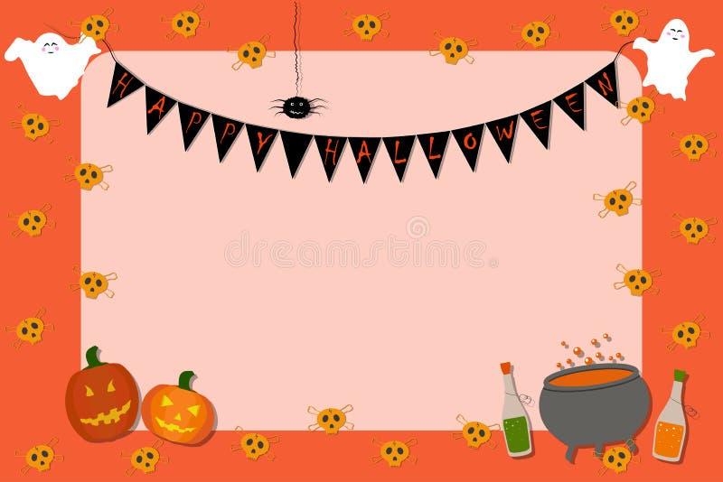 Inbjudanaffischtavla för allhelgonaafton Skallar flaskor, spökar, pumpor, kittel, spindel på en orange bakgrund royaltyfri illustrationer