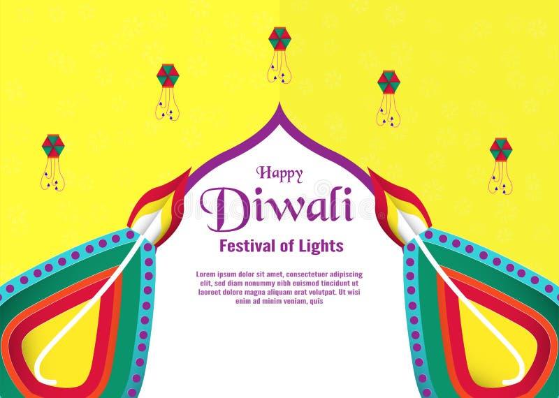 Inbjudanbakgrund för Diwali, festival av ljus av hinduiskt V royaltyfri illustrationer