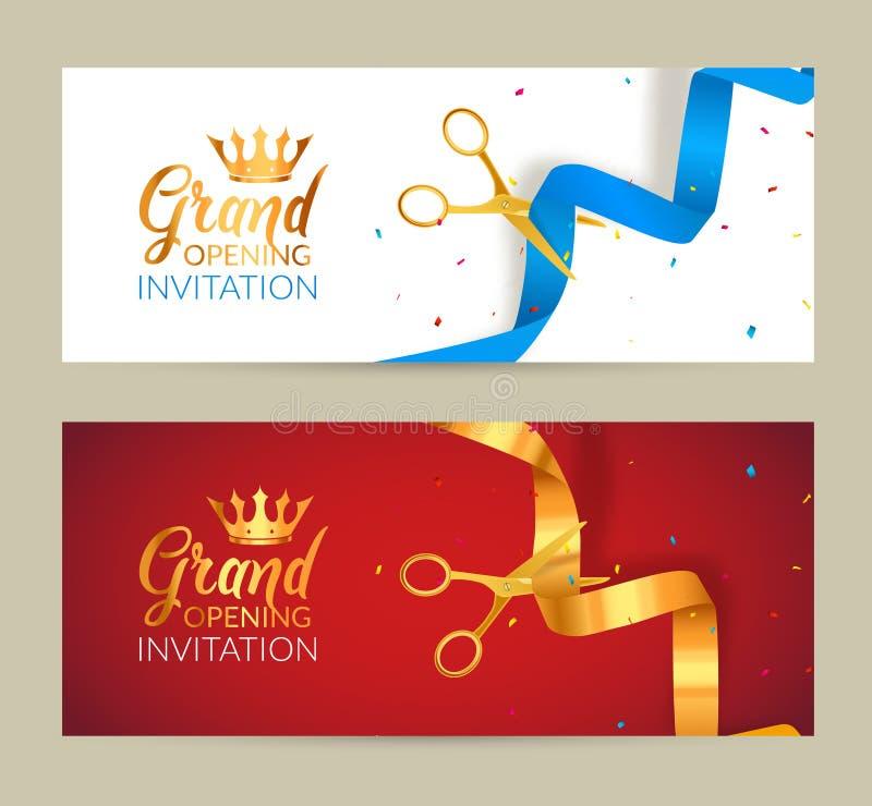 Inbjudanbaner för storslagen öppning Guld- händelse för band- och strumpebandsordensnittceremoni Berömkort för storslagen öppning royaltyfri illustrationer