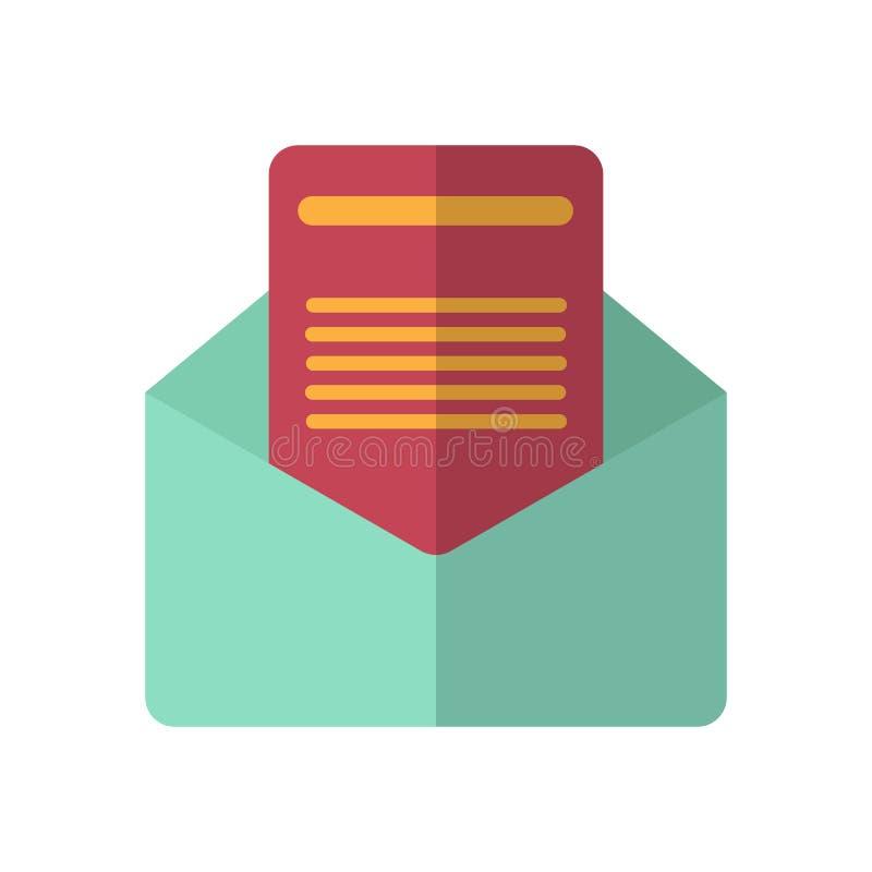 Inbjudanbokstav för händelselägenhetsymbolen, fyllt vektortecken, färgrik pictogram som isoleras på vit vektor illustrationer
