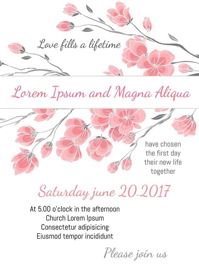 Inbjudanbröllopkortet med körsbärsröda sakura blommar vektormallen royaltyfri illustrationer