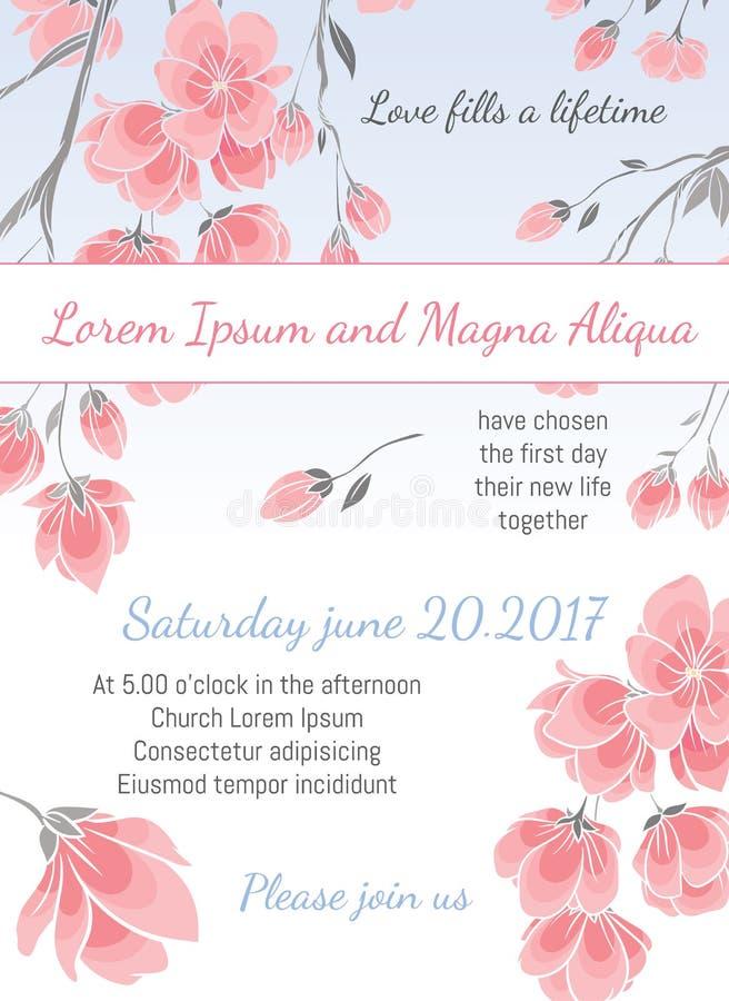 Inbjudanbröllopkortet med körsbärsröda sakura blommar vektormallen vektor illustrationer