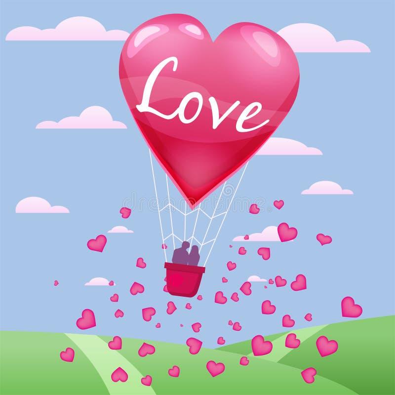 Inbjudankort av förälskelse- och valentindagen, ballong för varm luft med parflyg över gräs med hjärtaflötet på himlen stock illustrationer