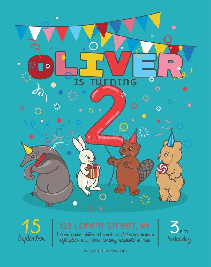Inbjudankort för födelsedagparti för barn s vektor illustrationer