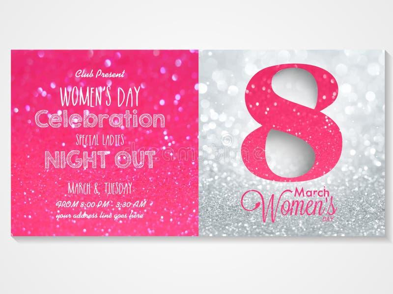 Inbjudankort för kvinnors dagberöm stock illustrationer