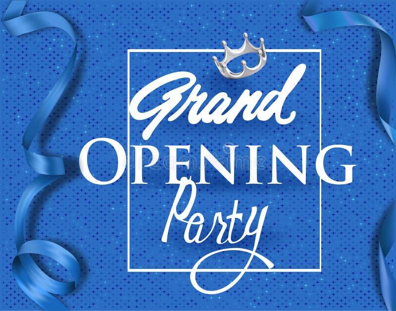Inbjudankort för storslagen öppning med blå elegant band och bakgrund royaltyfri illustrationer