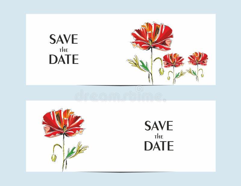 Inbjudankort med en röd vallmo för din design vektor illustrationer
