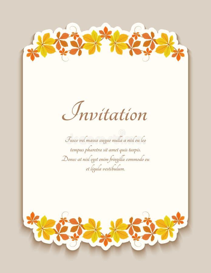 Inbjudankort med gula h?stsidor fotografering för bildbyråer