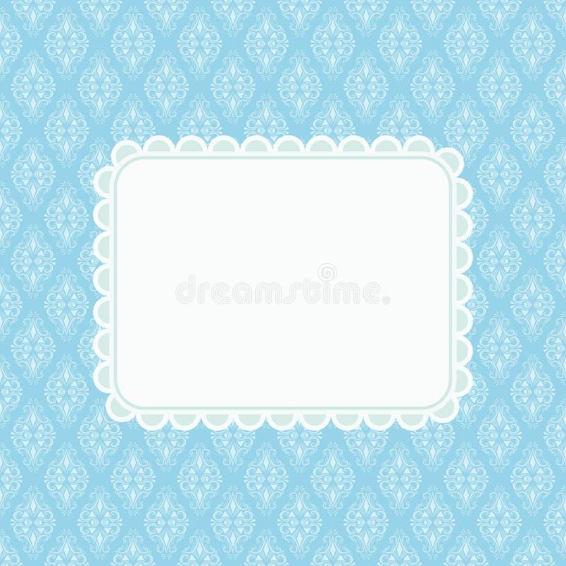 Inbjudankort med tomt utrymme för text på blå damast backgro vektor illustrationer