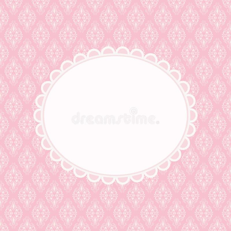 Inbjudankort med tomt utrymme för text på rosa damast backgro vektor illustrationer