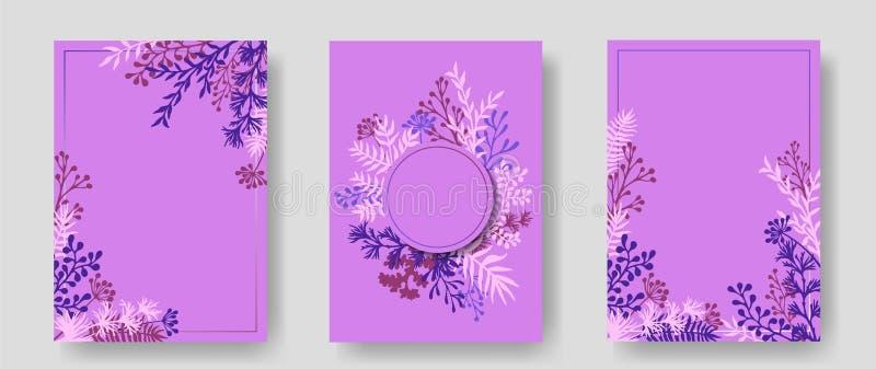 Inbjudankort med växt- ris och filialer stock illustrationer