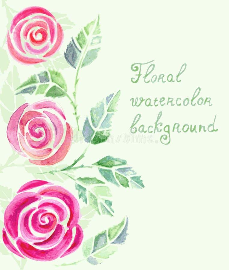 Inbjudankort med vattenfärgrosblommor stock illustrationer