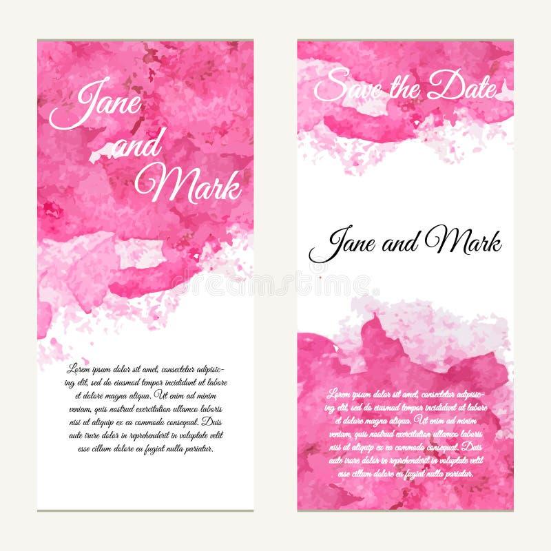 Inbjudankort på bröllop, födelsedag Bakgrund med vattenfärgen stock illustrationer