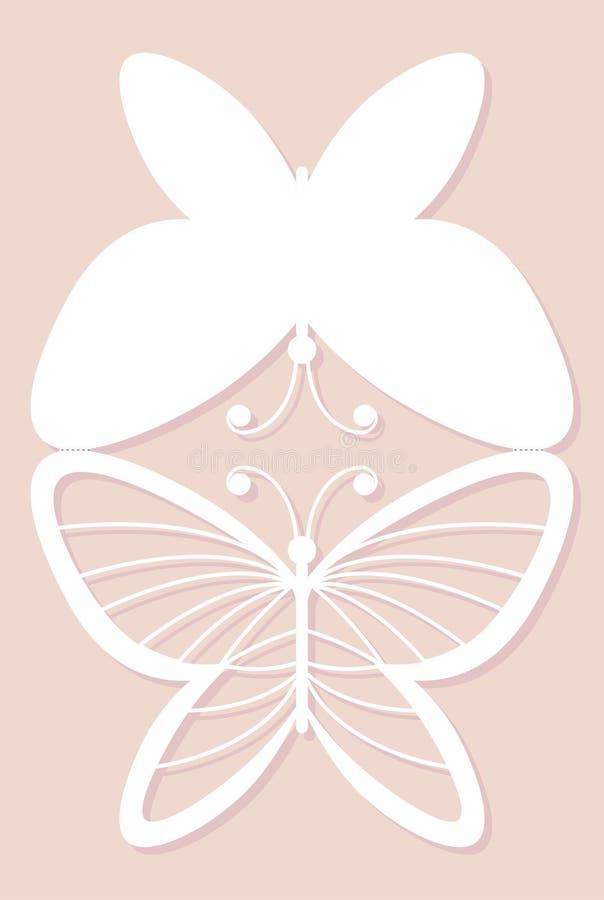 Inbjudankort som gifta sig garnering, designbeståndsdel Elegant fjärilslaser-snitt också vektor för coreldrawillustration vektor illustrationer