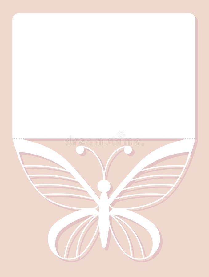 Inbjudankort som gifta sig garnering, designbeståndsdel Elegant fjärilslaser-snitt också vektor för coreldrawillustration royaltyfri illustrationer