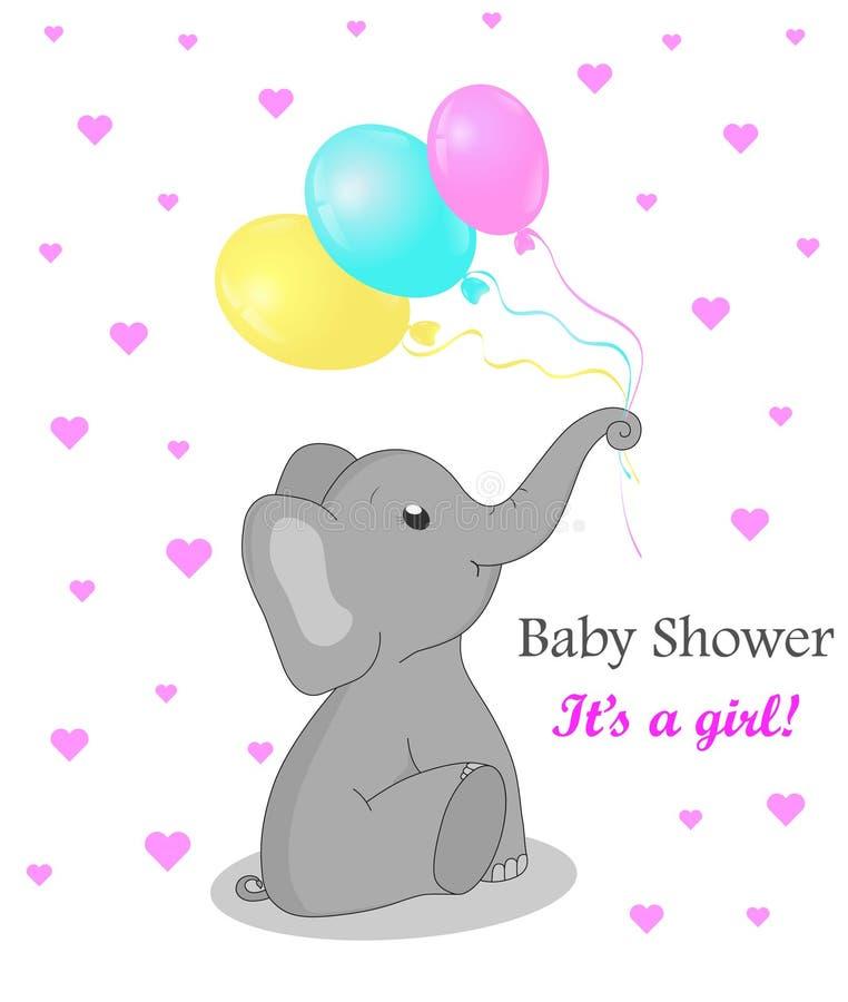Inbjudankortbaby shower med elefanten för flicka Gullig elefant med ballonger Födelsedaghälsningskort med den plana elefanten Vec royaltyfri illustrationer