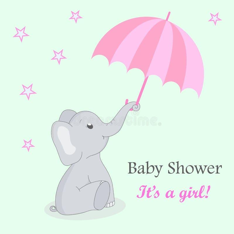 Inbjudankortbaby shower med elefanten för flicka Gullig elefant med ett paraply på en turkosbakgrund med stjärnor F?delsedag vektor illustrationer