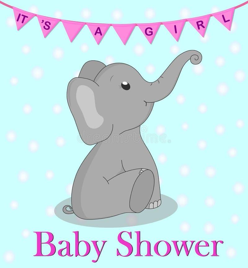 Inbjudankortbaby shower med elefanten för flicka Gullig elefant med flaggor på turkosbakgrund Intelligens för födelsedaghälsnings vektor illustrationer