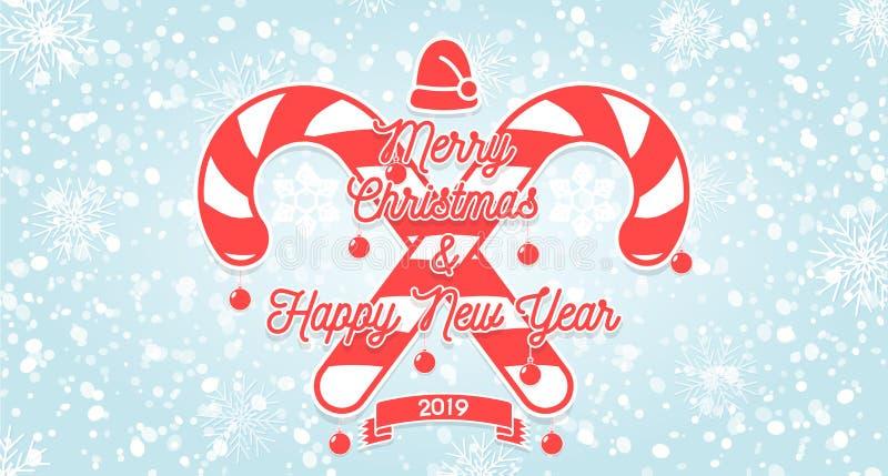 Inbjudankortet för glad jul och för det lyckliga nya året med snöflingor, hängande jul klumpa ihop sig, den santa hatten, godisen stock illustrationer