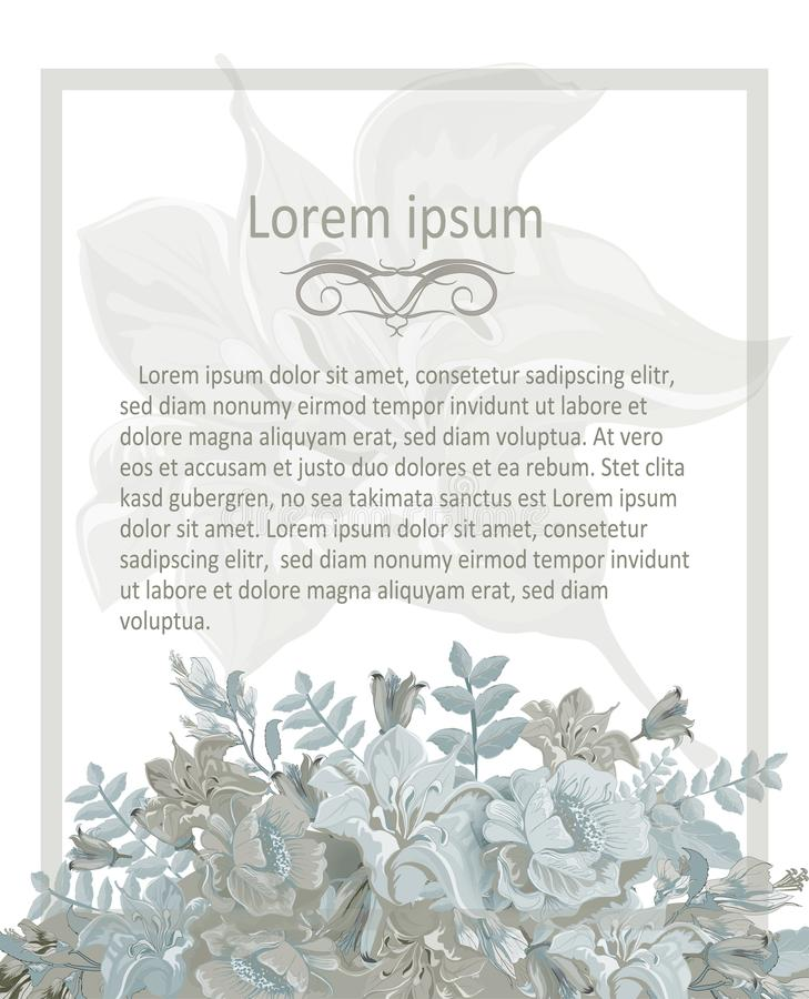 Inbjudankortet med pastell blommar, tappningblåttramen vektor illustrationer