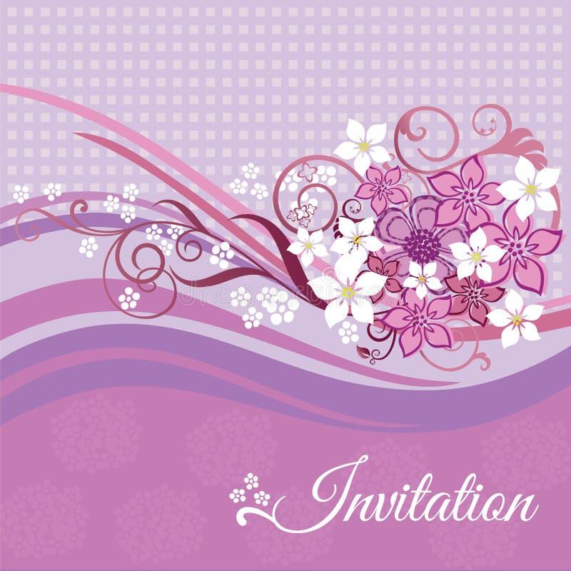 Inbjudankort med rosa färg- och vitblommor royaltyfri illustrationer