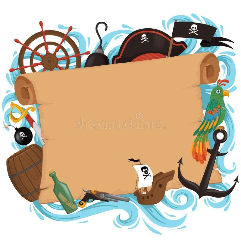Inbjudankortet piratkopierar in stil för ett parti i en tecknad filmstil Barns temaferie stock illustrationer