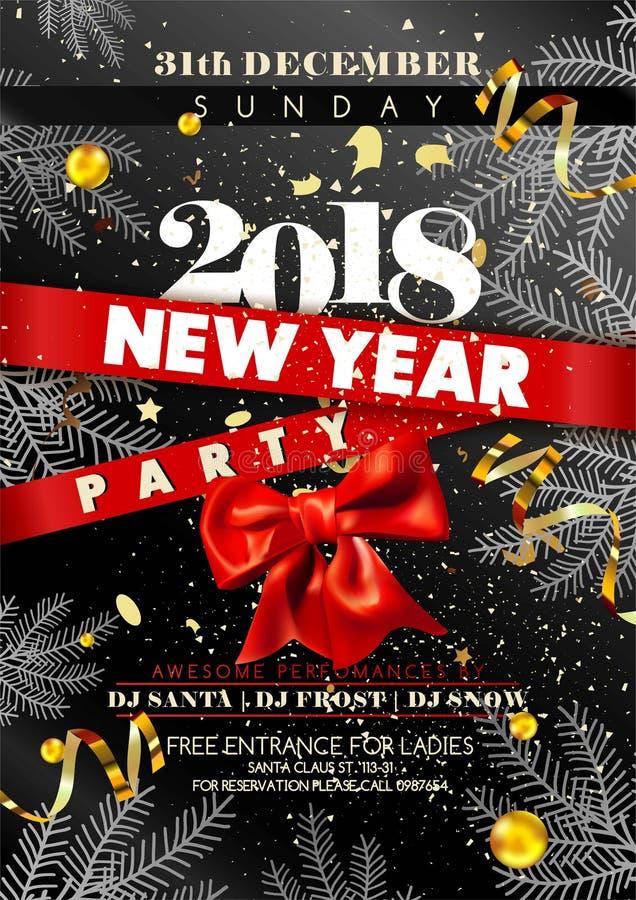 Inbjudanmall eller affisch för lyckligt nytt år stock illustrationer