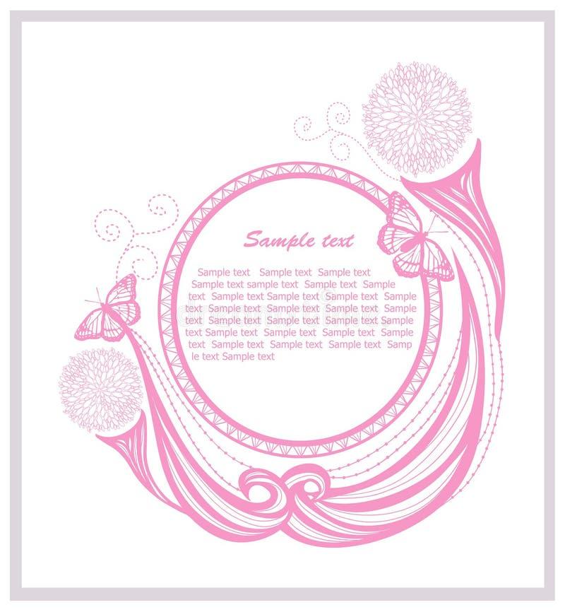 Inbjudanmall med blom- element vektor illustrationer