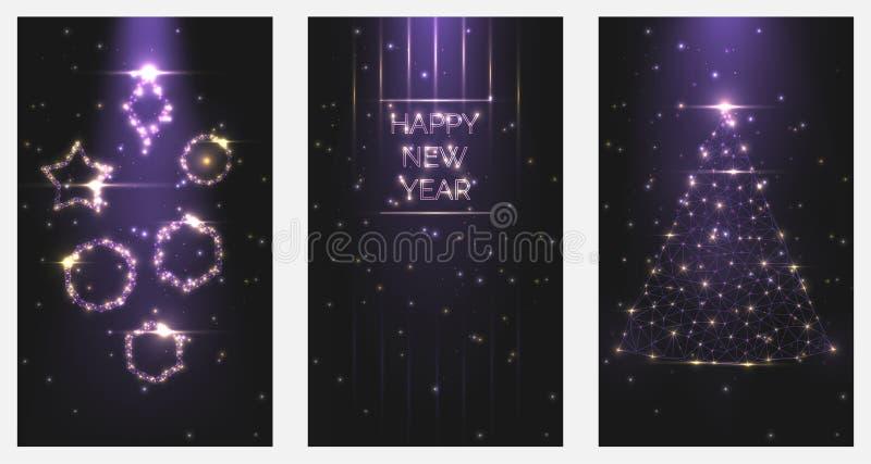 Inbjudningar för affisch för lyckligt nytt år för vektorillustration Ställ in av julgran- och leksakerramar av ljust ljus från pa royaltyfri illustrationer