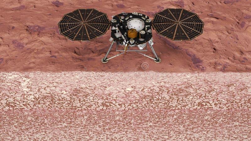 Inblick på Mars, utrymmebeskickning för utforskningen av planeten Jackett av marsinvånarejorden nasa stock illustrationer
