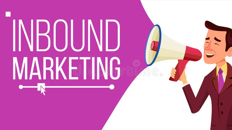 Inbound Marketing Banner Vector. Business Advertising. Male With Megaphone. CTA, Email, Landing page, Analytics vector illustration