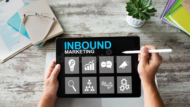 Inbound marketing. Content management and advertising strategy concept. Inbound marketing. Content management and advertising strategy concept royalty free stock photo