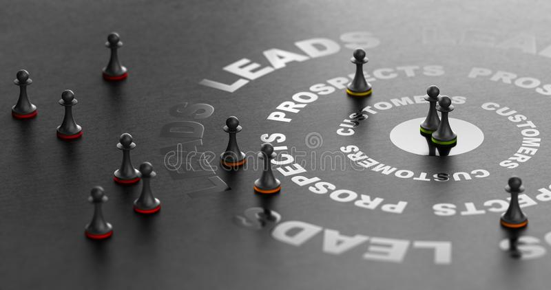 Inbound Marketing, Converting Leads Into Sales or Customers stock illustration