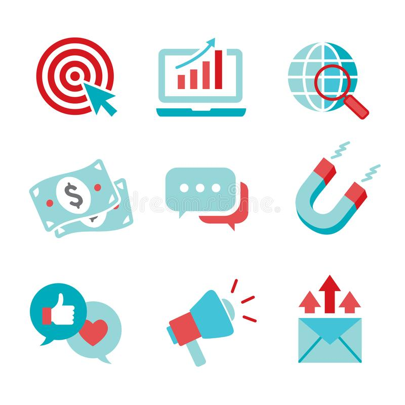 Inbound Marketing Vector Icons with CTA, Growth, SEO, etc vector illustration