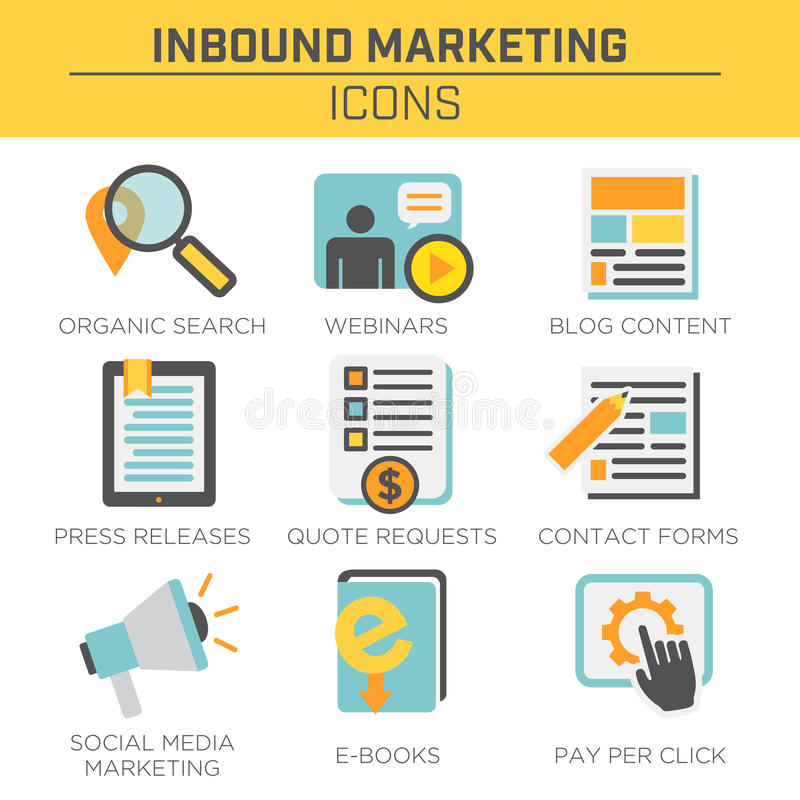 Inbound Marketing Vector Icons with organic search, ppc, blog content royalty free illustration
