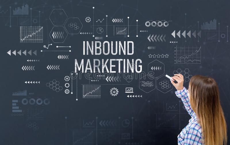 Inbound marketing with young woman stock photography