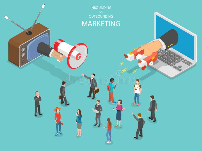 Inbound vs outbound marketing isometric vector. vector illustration
